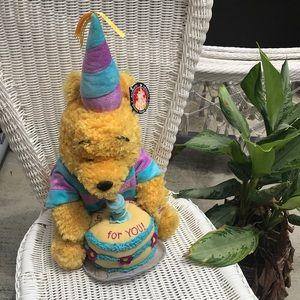 Happy Birthday Plush Pooh Bear with cake